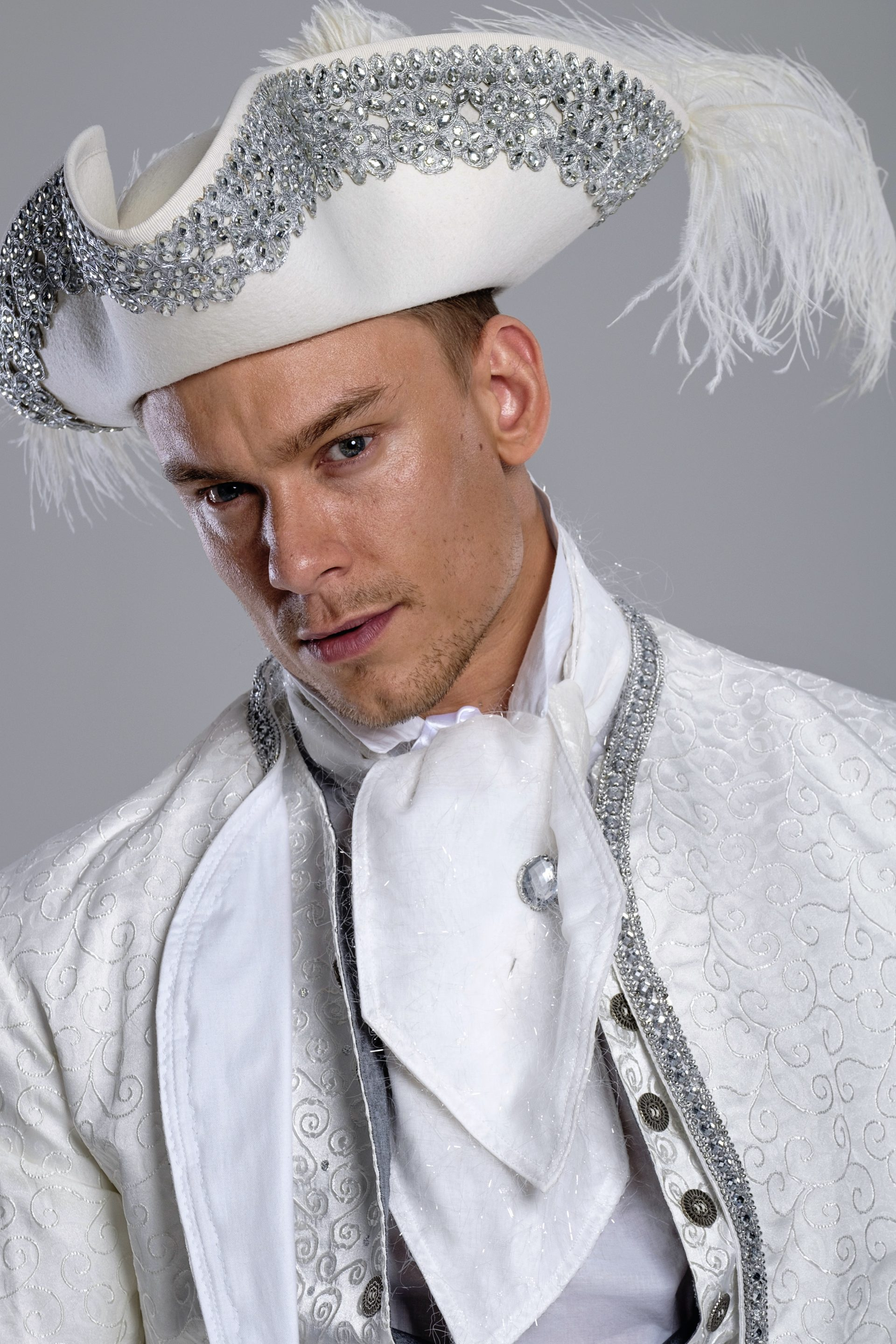 Prince Charming costume white silk footmen for events doorman Narnia themed party