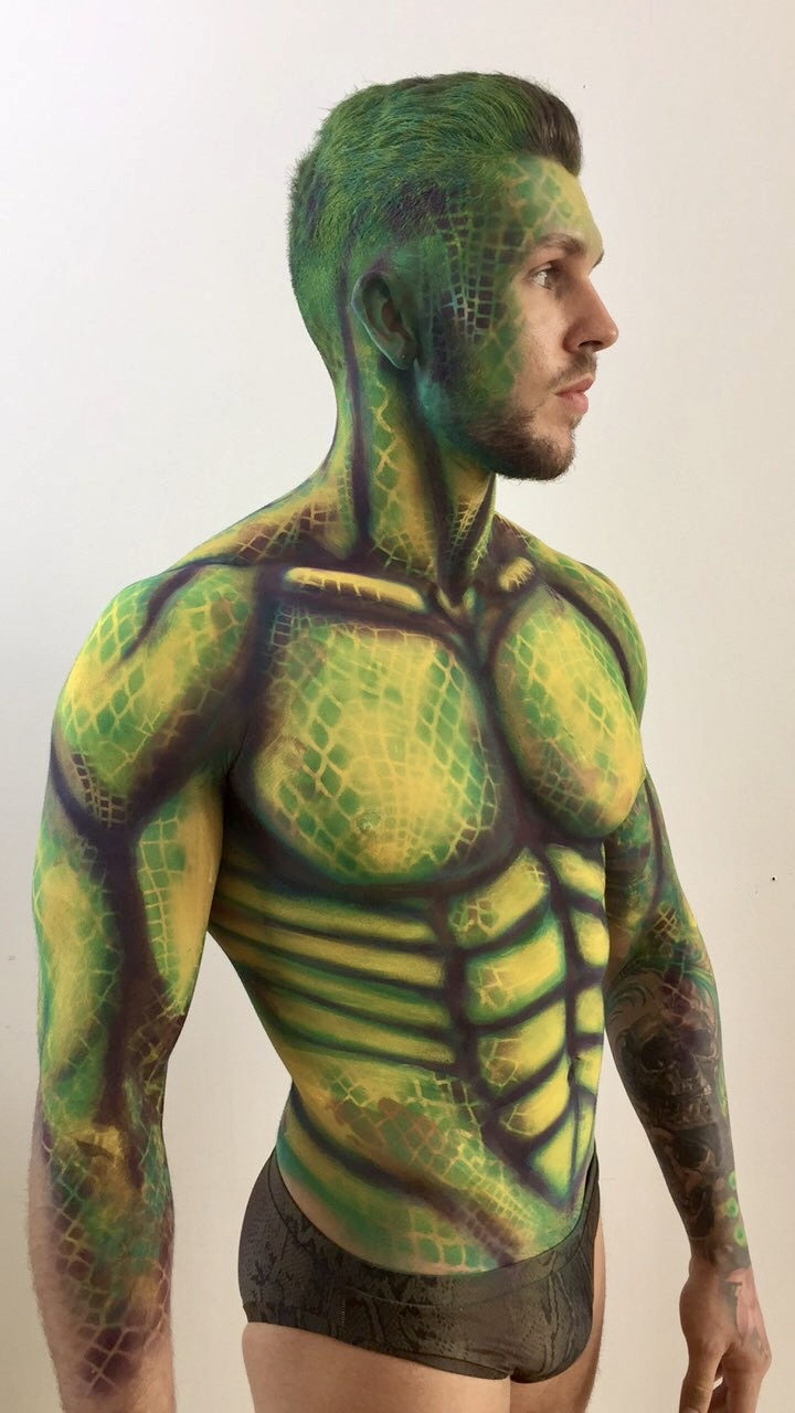 Snake body painting male fitness ideas act for events parties and media garden of eden ideas