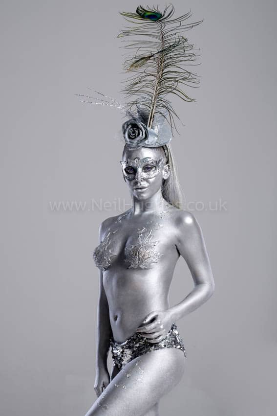 body painted silver female model