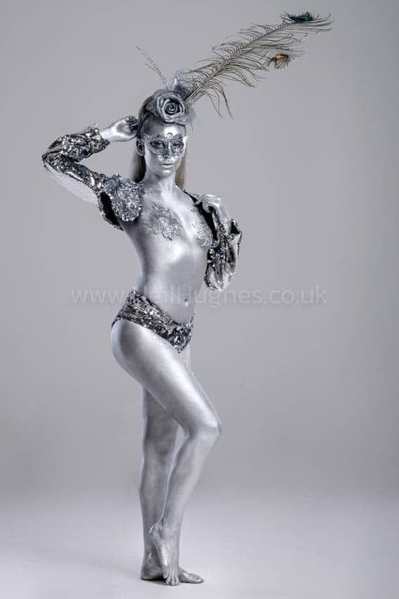 Body painted silver ice girl (Six Costumes Available)